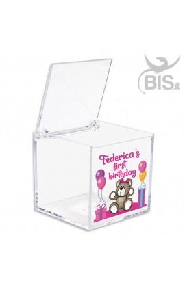 Kit 5 pieces birthday Plexiglass Confetti Box, teddy bear themed
