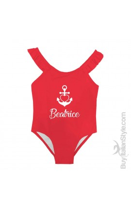 "One Piece baby swimsuit, winged braces ""Name and anchor"""