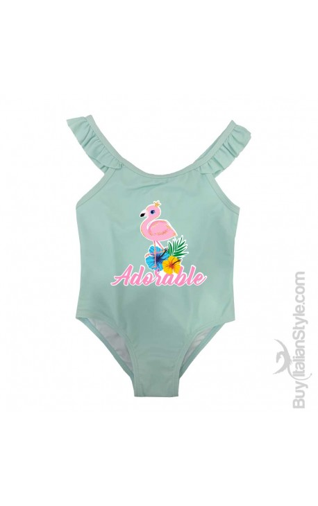 "Costume bimba intero con bretelle ad alette ""ADORABLE"""