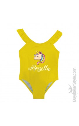 "One piece girl swimsuit, winged braces,""NAME AND UNICORN"""