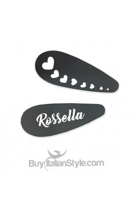 Kit 2 drop shaped hair clips with name