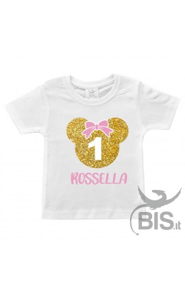 T-shirt bimba compleanno Minnie + nome