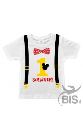 T-shirt bimbo compleanno con bretelle Topolino + nome