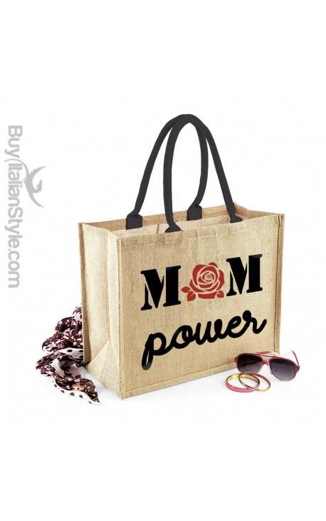 """Borsa da Mare in juta naturale """"Mom power"""""""