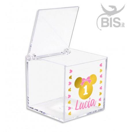 Kit 5 pezzi Porta confetti per compleanno in plexiglass a tema Topolina