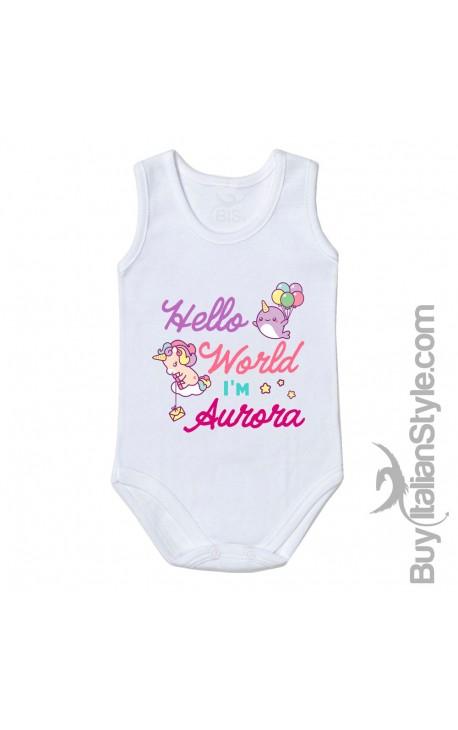"""Body neonata """"Baby Unicorn"""" da personalizzare"""