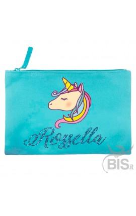 Pochette tela a tema Unicorno da personalizzare