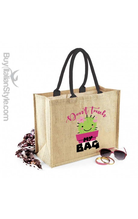 "Borsa da Mare in juta naturale ""Don't touch my bag"""