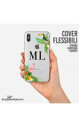 """Cover da personalizzare """"Tropical"""" con iniziali"""