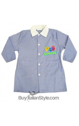 Personalized  Checked School Apron- Baby Robot