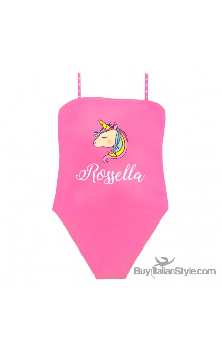 UNICORN one piece bandeau swimsuit with name