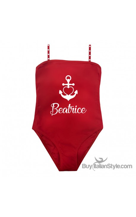 One-piece little girl swimsuit, Anchor Theme