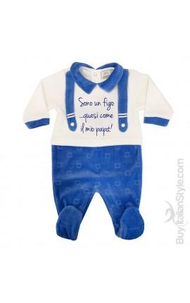 """Tutina neonato in ciniglia con finte bretelle """"Sono un figo...quasi come il mio papà"""""""
