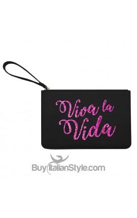 """Pochette in ecopelle """"Viva la vida"""" stampa in glitter"""