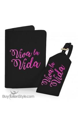 """Set da viaggio """"Viva la vida"""" con stampa in glitter"""
