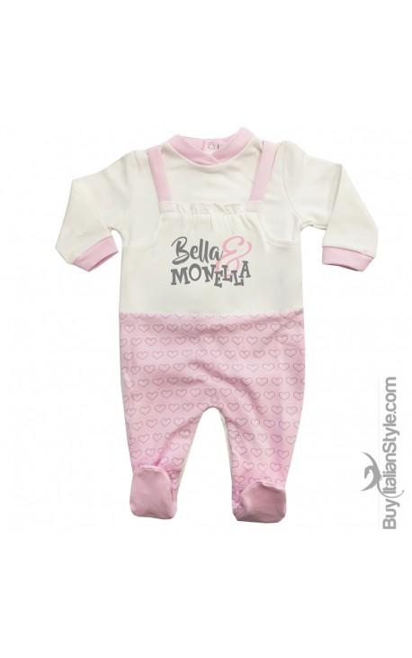 """Winter Newborn Jumpsuit, fake dungarees, """"Bella & Monella"""""""