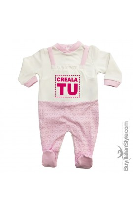 Tutina neonata invernale salopette cuori da personalizzare