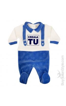 Tutina neonato in ciniglia trama orsetti da personalizzare