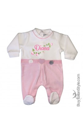 Newborn chenille bodysuit with flowers to customize