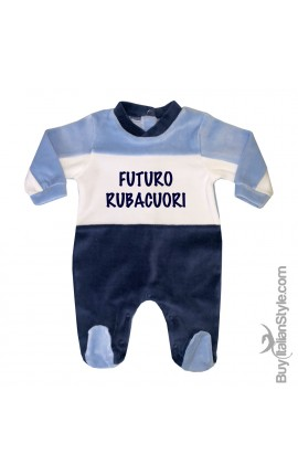"""Tutina neonato in ciniglia a righe """"Futuro Rubacuori"""""""