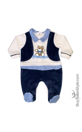 "Chenille Bodysuit with waistcoat, ""Teddy bear"" print, to customize"