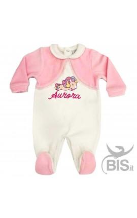 Tutina in ciniglia neonata bianca e rosa BABY UNICORN
