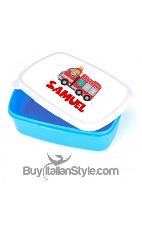 """Porta pranzo e merende bimbo""""Pompiere"""" da personalizzare con nome"""