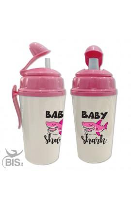 """Bicchiere con cannuccia bimbo/a """"BABY SHARK"""""""