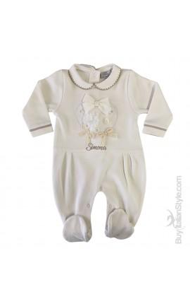 Tutina in caldo cotone neonata con cuori e fiocchi applicati da personalizzare con nome