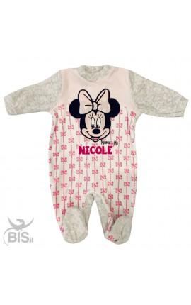 """Newborn chenille bodysuit """"Minnie"""", bows pattern"""