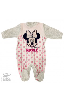 "Newborn chenille bodysuit ""Minnie"", bows pattern"