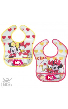 "Pair of ""Minnie + name"" plastic bibs"