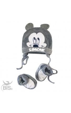 """Kit cappellino e scarpine invernale neonato """"topolino + nome"""""""