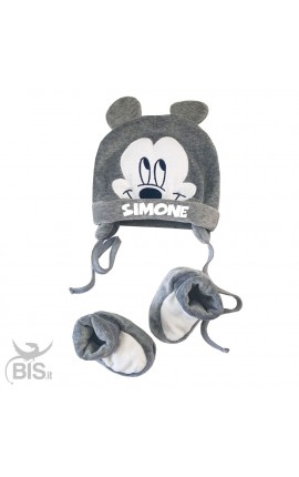 "Newborn winter hat and slippers kit, ""Mickey Mouse + Name"""