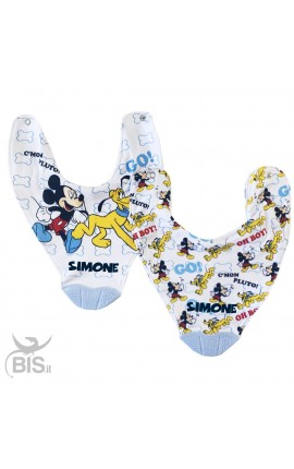 "Silicone Teething Baby Bib 2-Piece Set ""Mickey Mouse"""