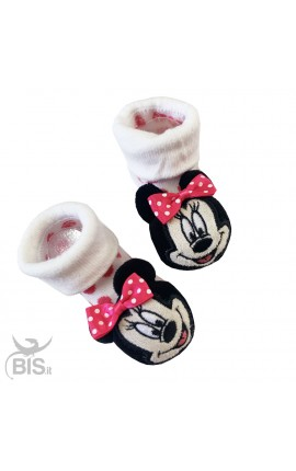 "Socks with baby rattles, in warm cotton, ""Minnie"""