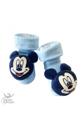 "Newborn Socks with rattles, in warm cotton, ""Mickey Mouse"""