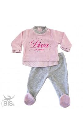 """Completino Clinica rosa e grigio """"Diva si nasce"""""""