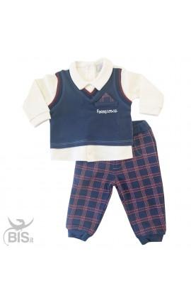 Tutina stile college neonato con finta camicia