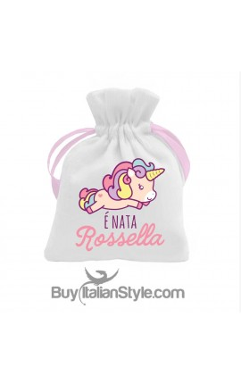 Kit 5 pieces Bonbon Sack Baby Unicorn + Name