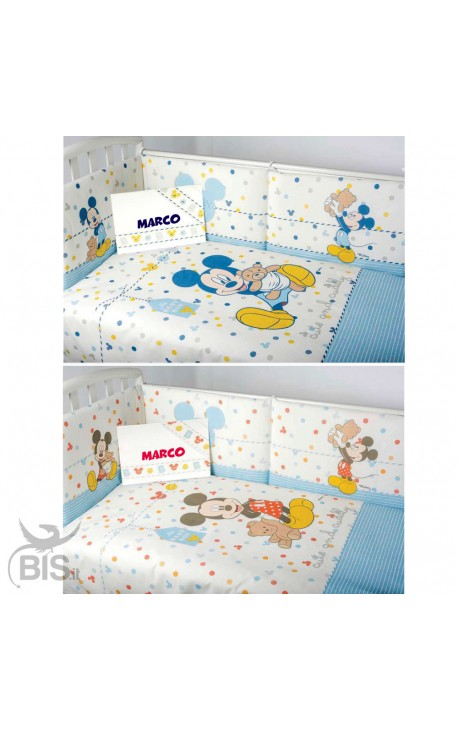 5 pieces Disney Cot Set, Mickey Mouse + name
