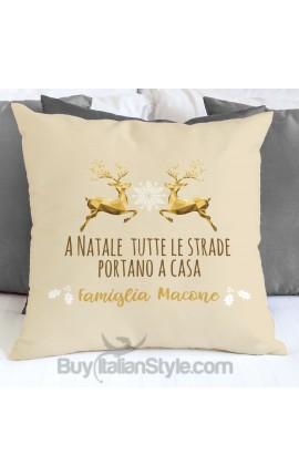 """Federa cuscino """"A Natale tutte le strane portano a casa"""""""
