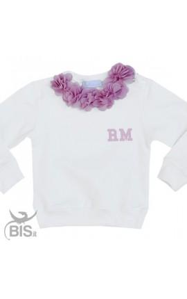Little girl' Sweatshirt Flowers + Initials