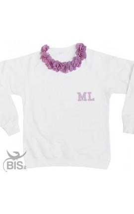 Woman's sweatshirt Flowers + Initials