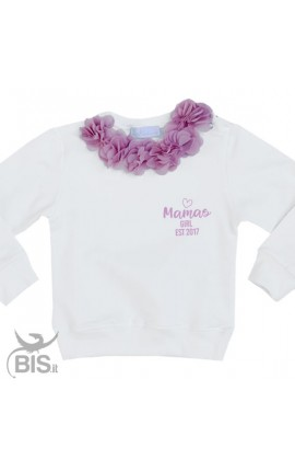"""Felpa Bimba con fiori applicati """"Mama's girl est"""" con anno di nascita"""