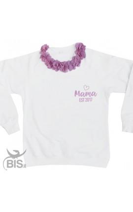 """Felpa Donna con fiori applicati """"Mama est"""" con anno di nascita"""
