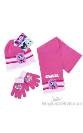 """Kit sciarpa, cappellino e guanti bimba """"LOL + nome"""""""