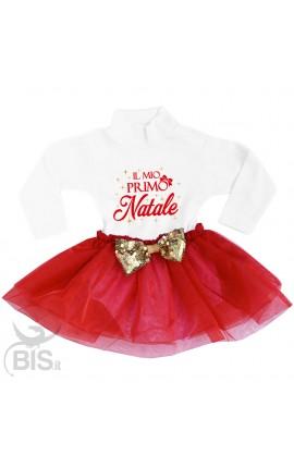 """abitino neonata con gonna in organza """"Il mio primo Natale"""" con fiocco in paillettes"""