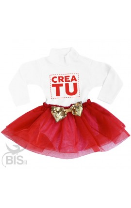 "abitino neonata con gonna in organza ""da personalizzare"" con fiocco in paillettes"