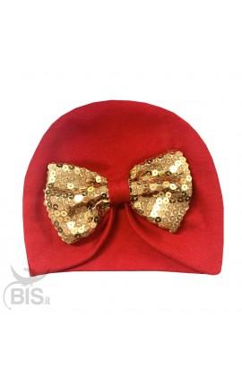 Cappello turbante rosso con fiocco in paillettes